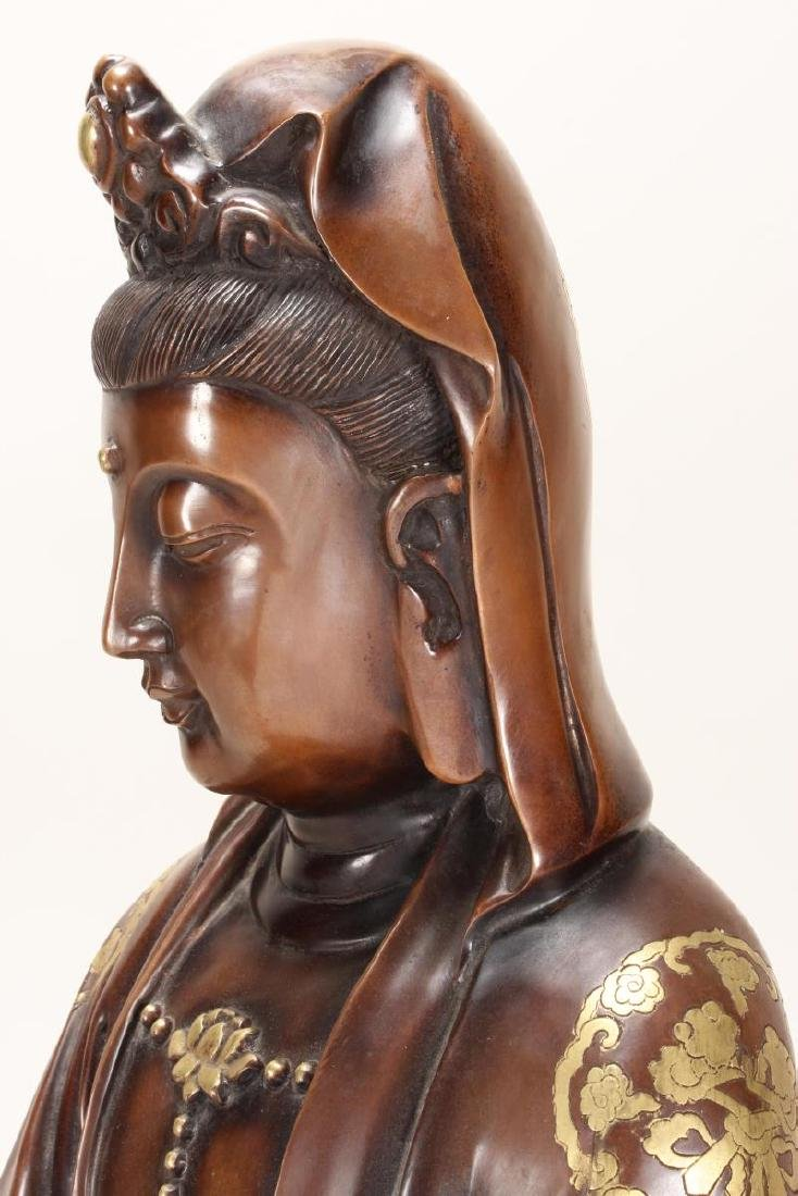 Large Chinese Bronze Seated Kwan Yin, - 5