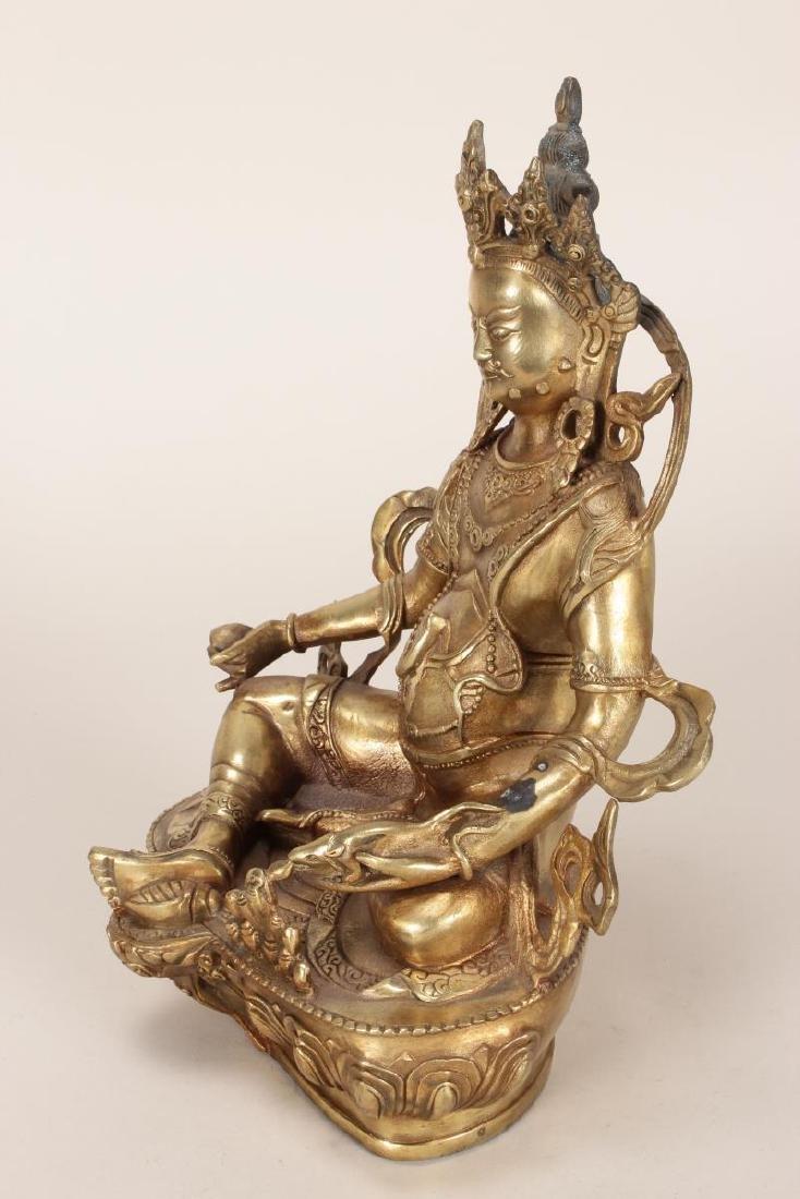 Chinese Gilt Bronze Seated Bodhisattva, - 5
