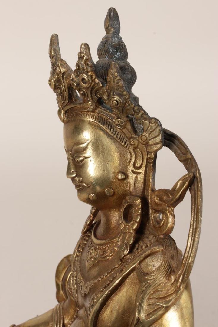 Chinese Gilt Bronze Seated Bodhisattva, - 8