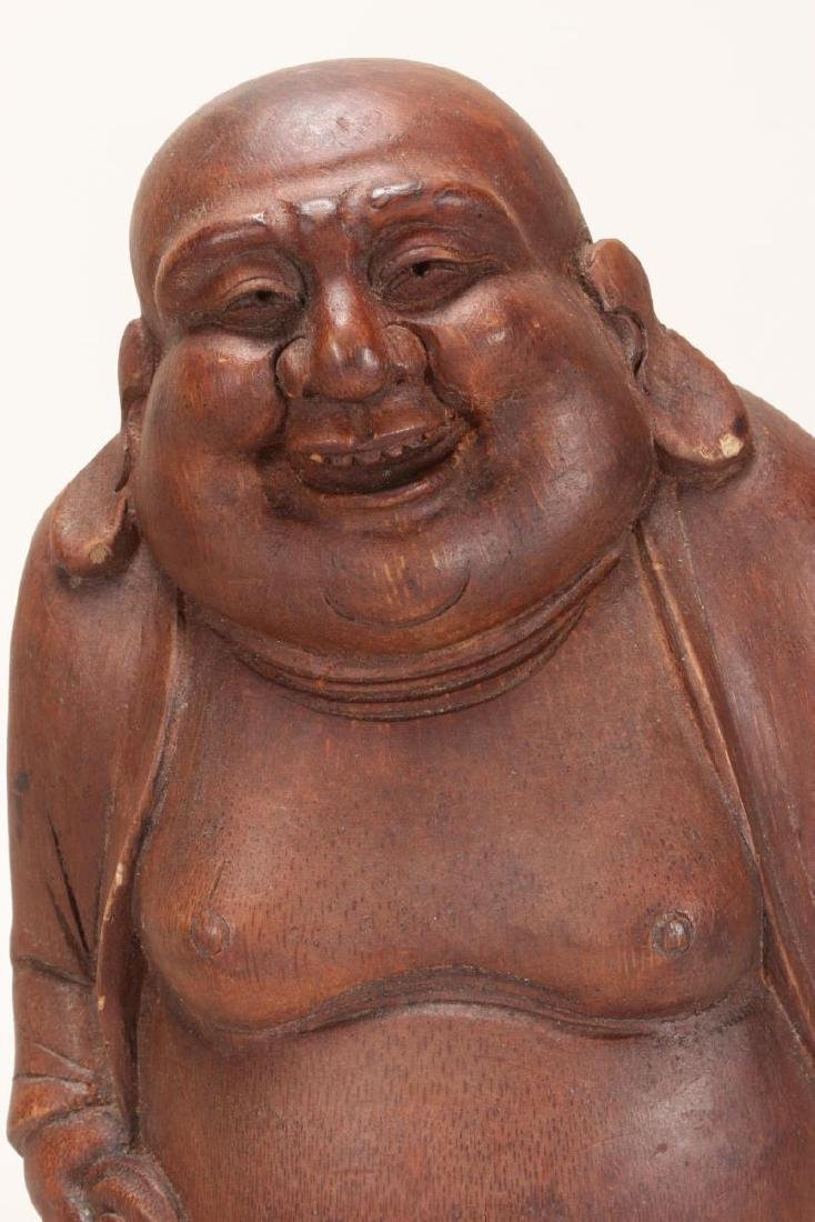 Chinese Carved Bamboo Figure of Budai, - 2