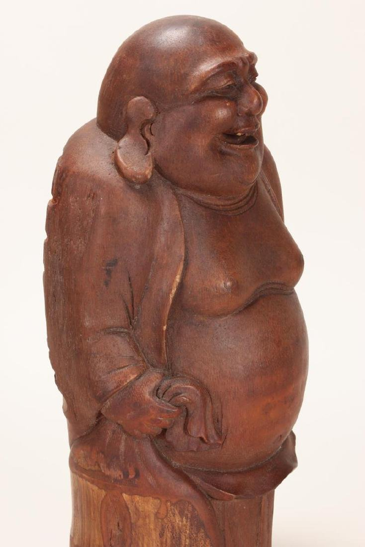 Chinese Carved Bamboo Figure of Budai, - 5