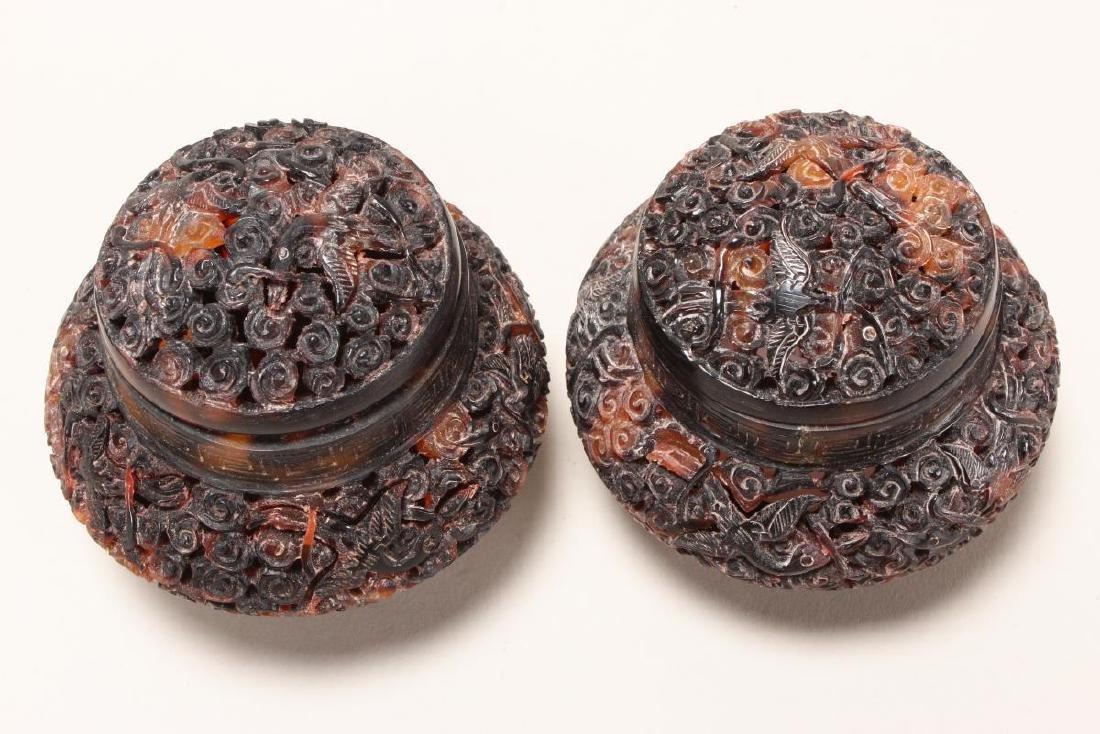 Pair of Chinese Tortoiseshell Jars and Covers, - 2
