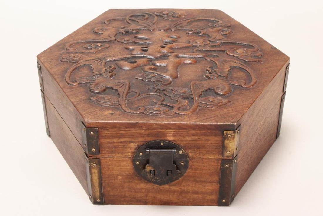 Chinese Carved Timber Jewellery Box,