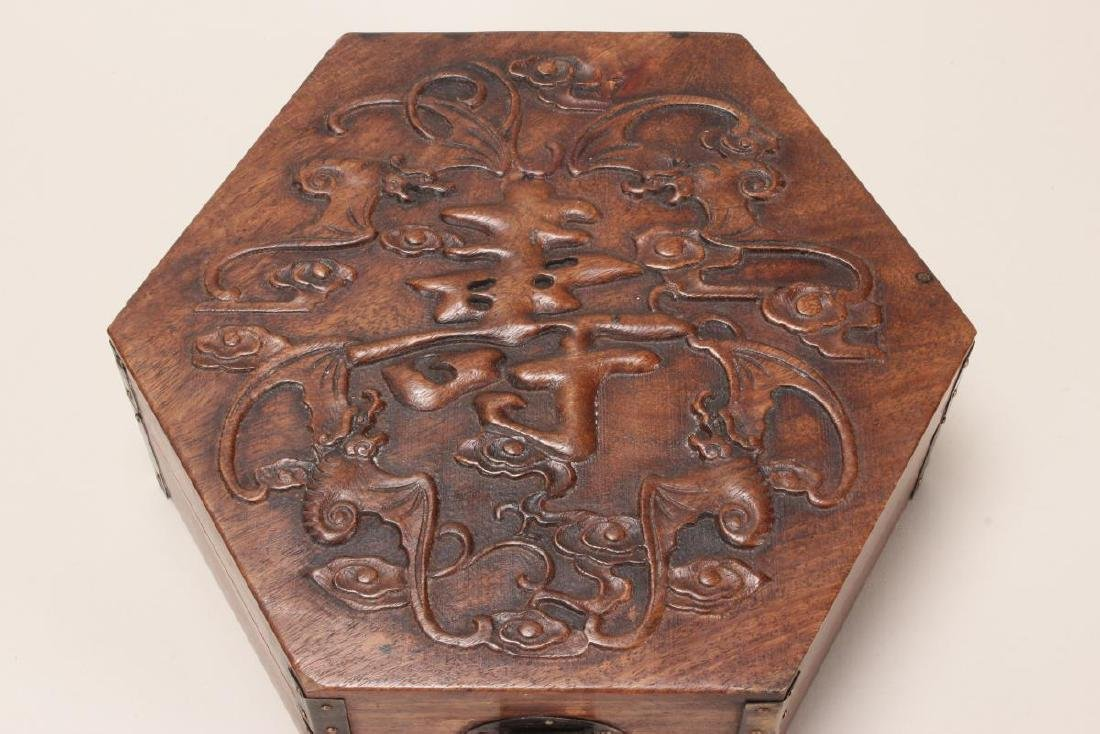 Chinese Carved Timber Jewellery Box, - 2