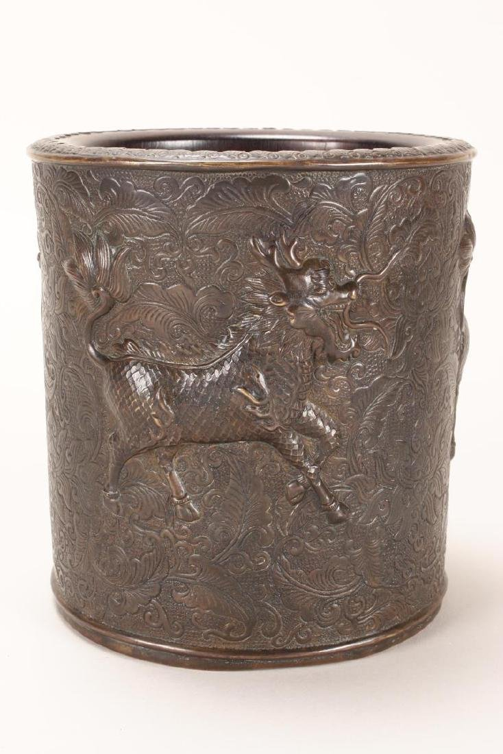 Unusual Chinese Bronze and Rosewood Brush Pot,