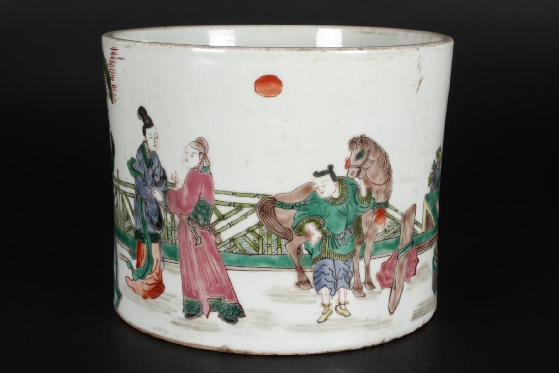 Chinese Famille Vert Porcelain Brush Pot, - 2