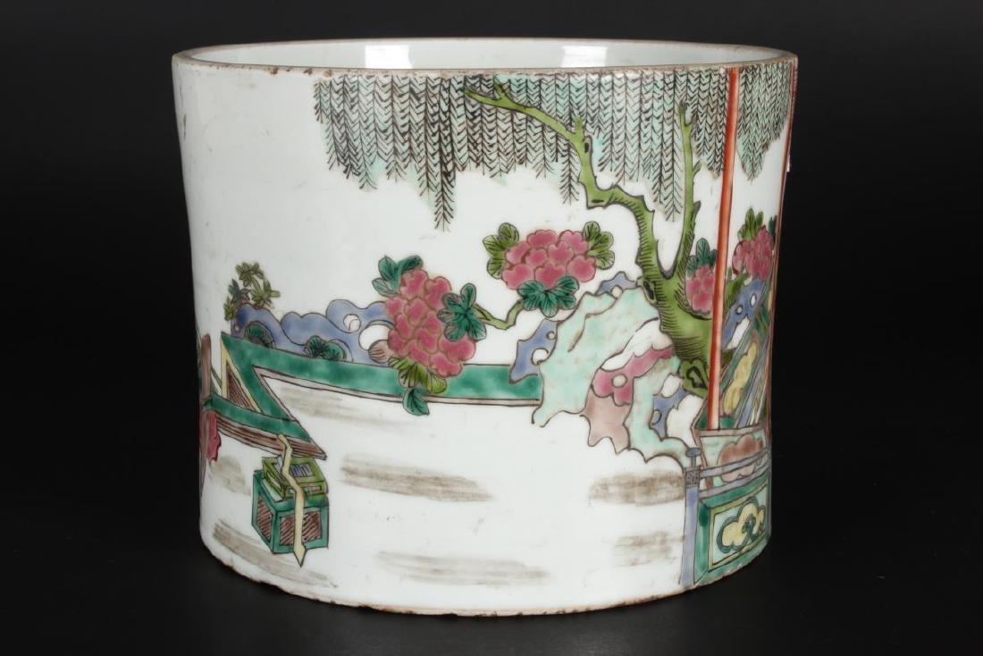 Chinese Famille Vert Porcelain Brush Pot, - 3