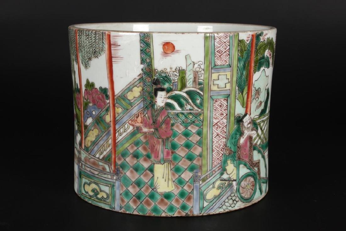 Chinese Famille Vert Porcelain Brush Pot, - 4