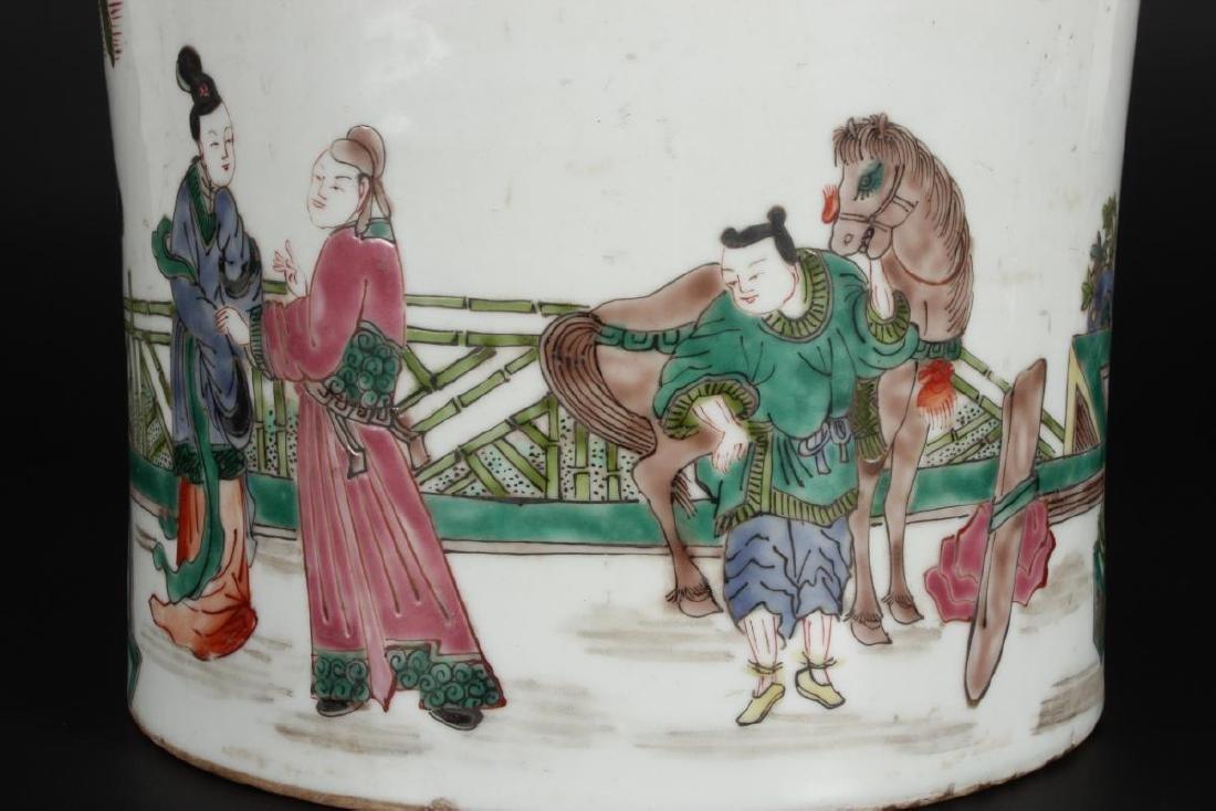 Chinese Famille Vert Porcelain Brush Pot, - 6