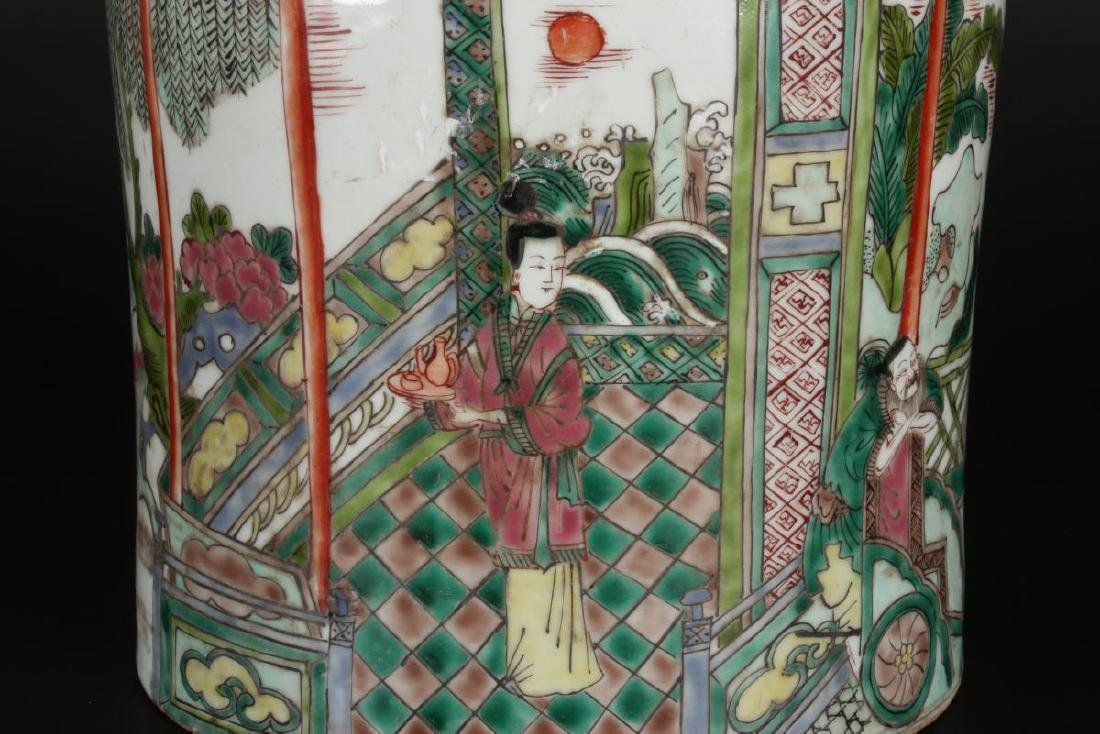 Chinese Famille Vert Porcelain Brush Pot, - 8