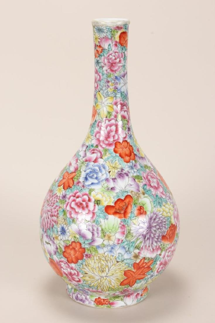 Chinese Thousand Flowers Porcelain Vase, - 2
