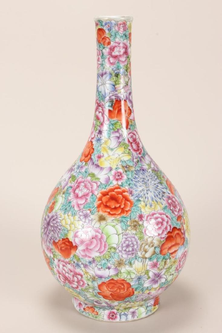 Chinese Thousand Flowers Porcelain Vase, - 3