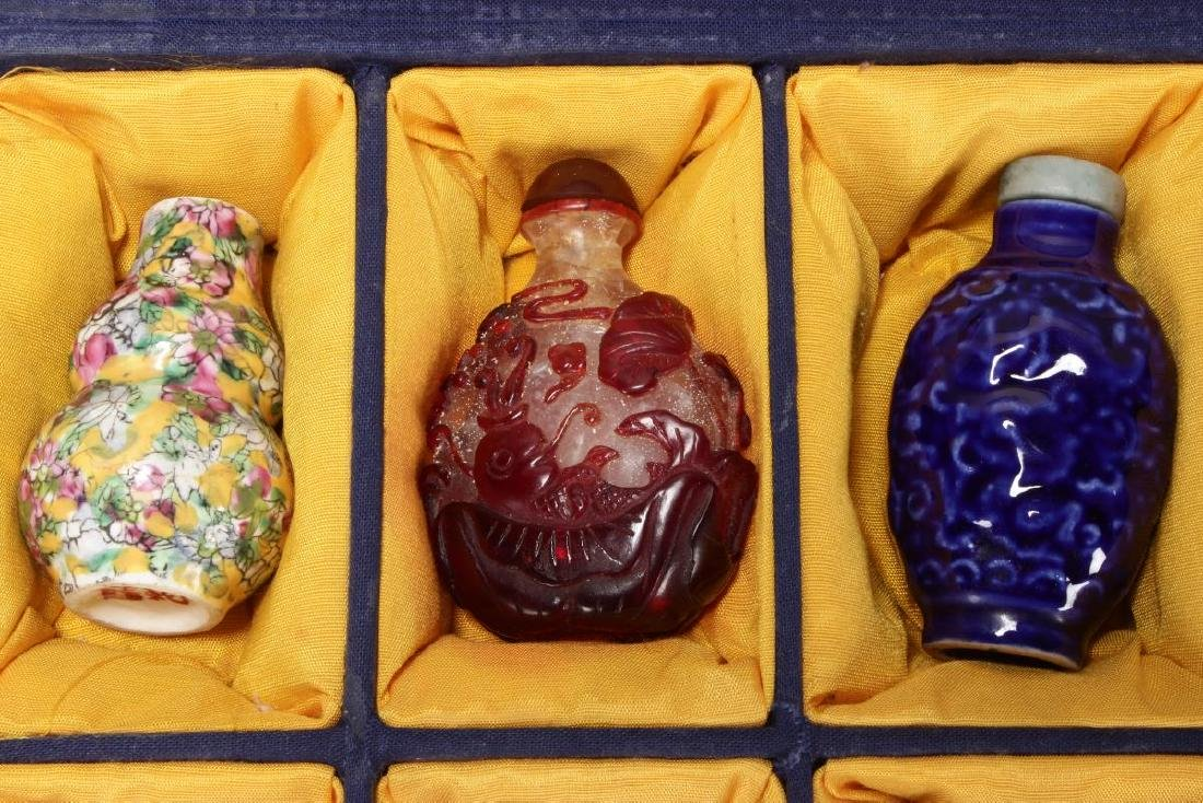Ten Assorted Chinese Snuff Bottles and Stoppers, - 2