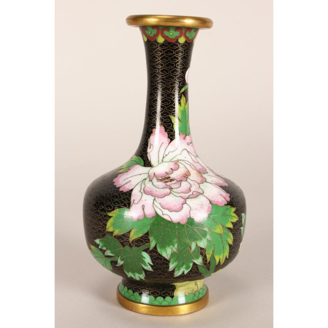 Pair of Chinese Cloisonne Vases, - 4