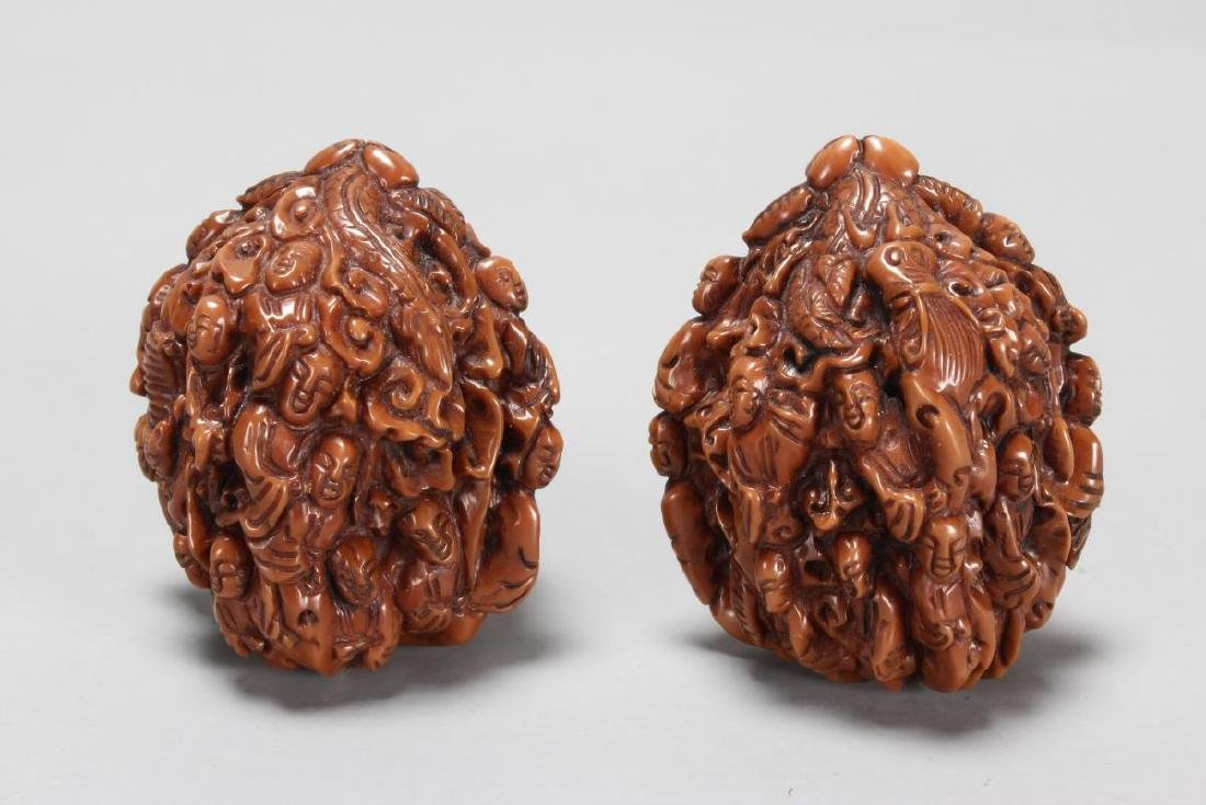 Two Chinese Carved Walnuts,