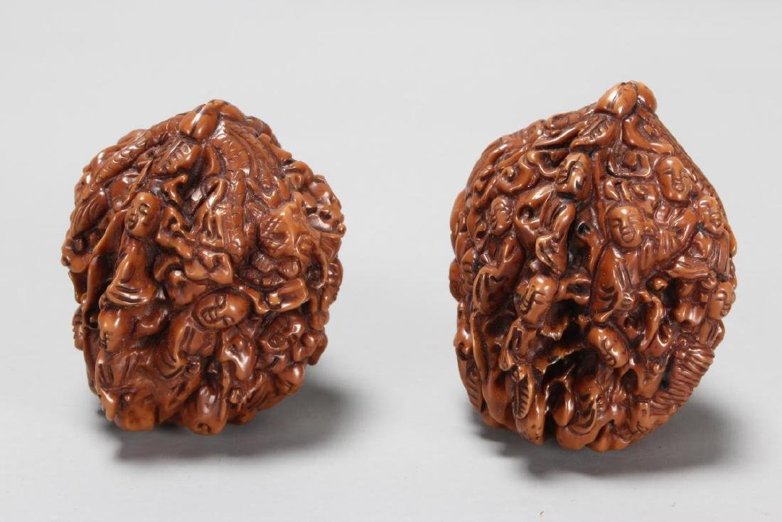 Two Chinese Carved Walnuts, - 2