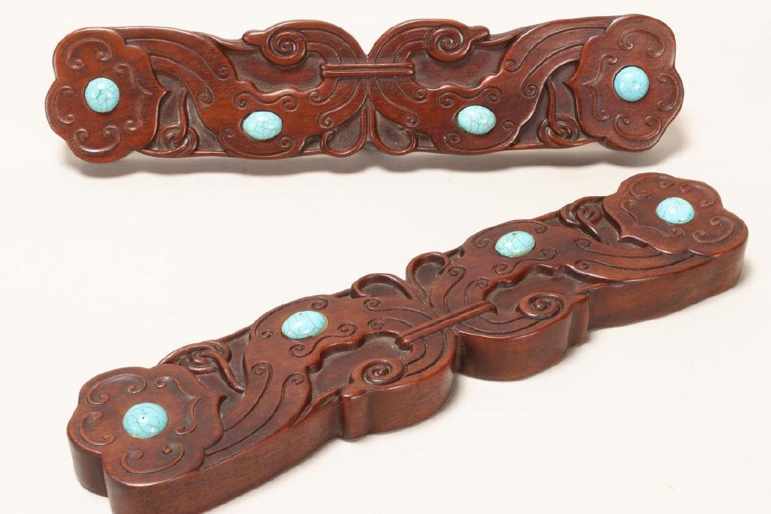 Pair of Chinese Carved Hardwood Scroll Weights,