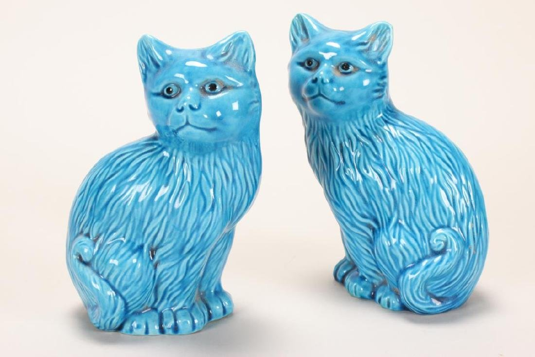 Pair of Chinese Turquoise Glaze Porcelain Cats,