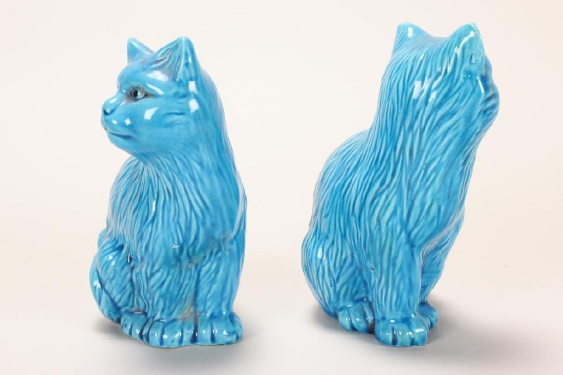Pair of Chinese Turquoise Glaze Porcelain Cats, - 2