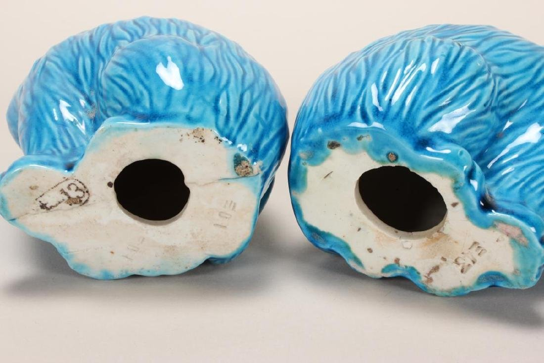 Pair of Chinese Turquoise Glaze Porcelain Cats, - 3