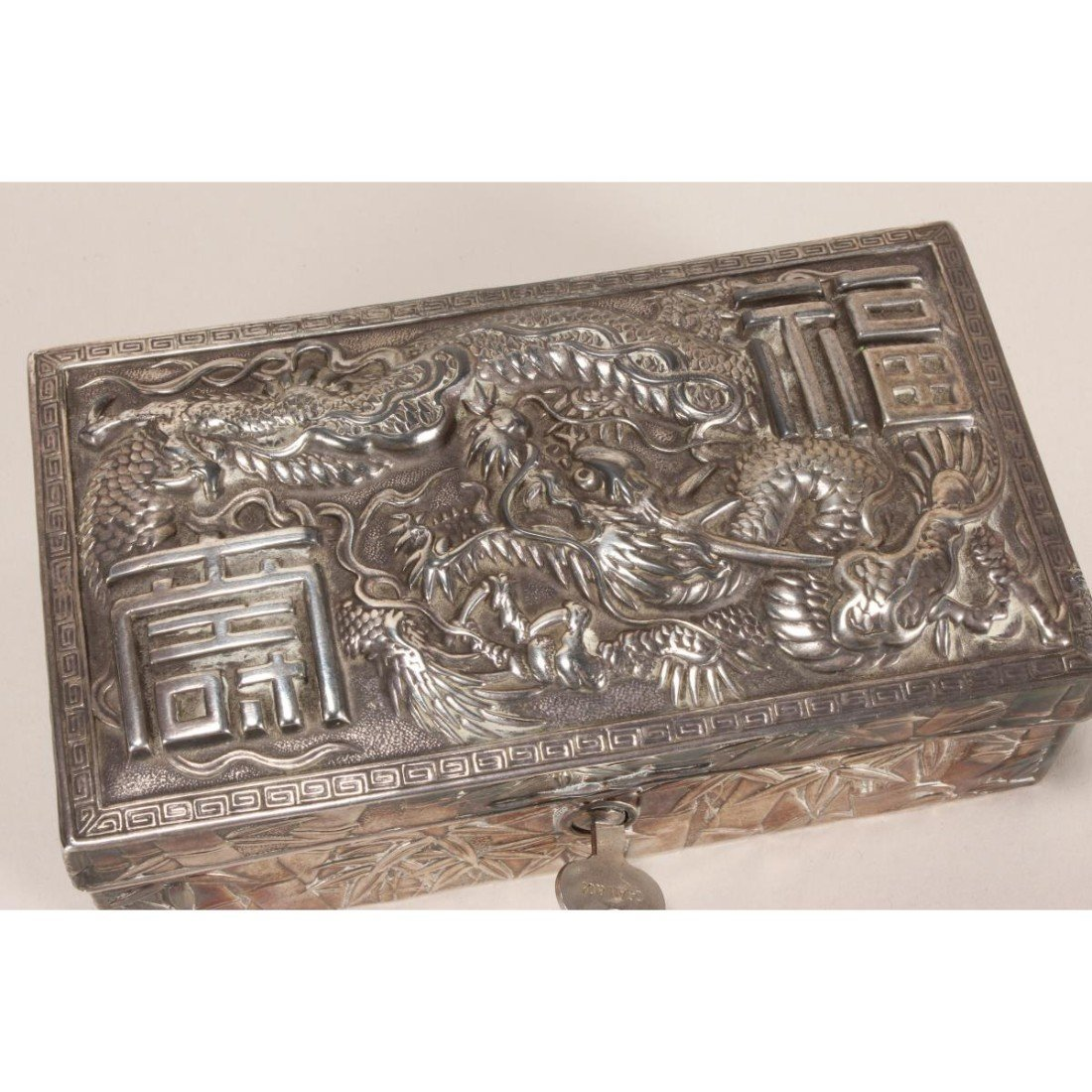 Japanese Silver Plate Box and Cover, - 2