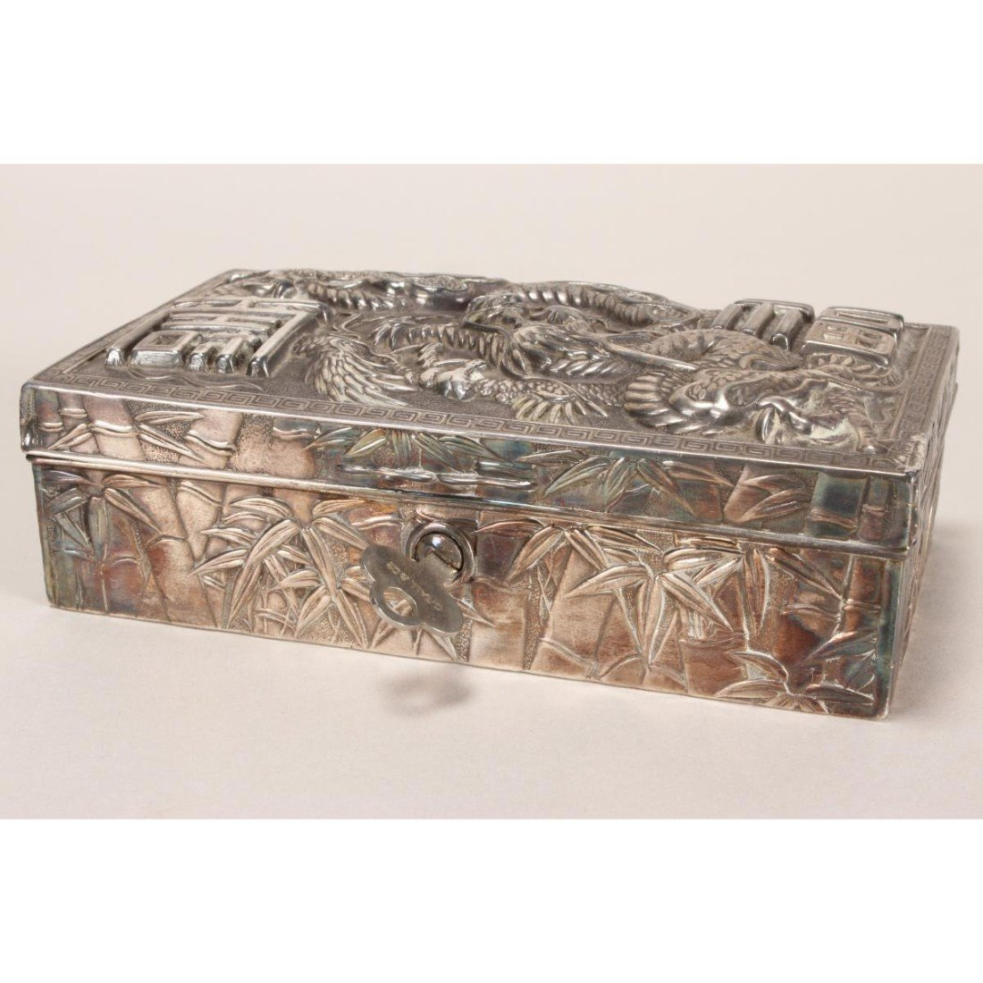 Japanese Silver Plate Box and Cover, - 3