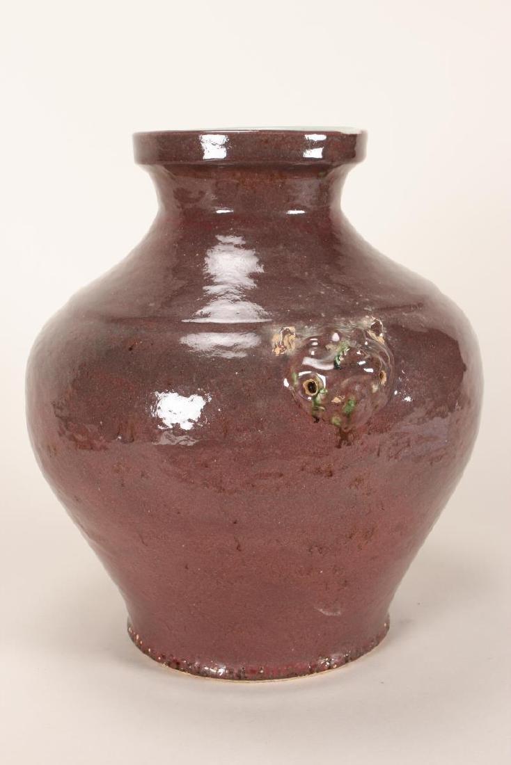 Chinese Twin Handled Sang de Boeuf Pottery Jar, - 2