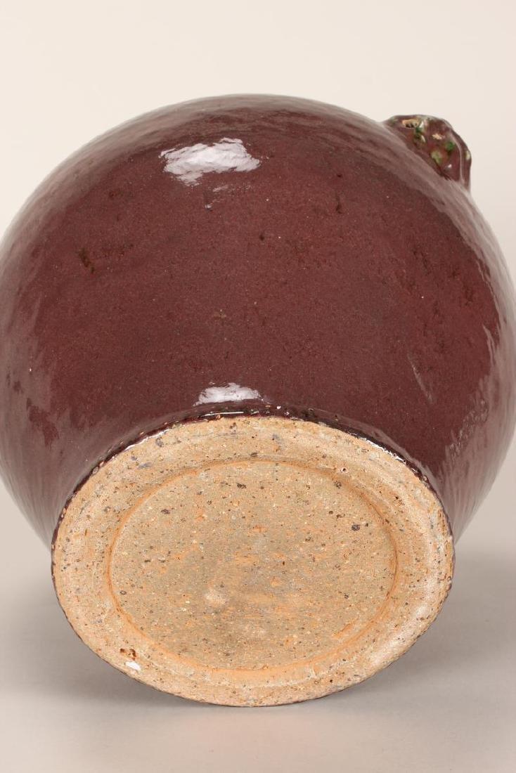 Chinese Twin Handled Sang de Boeuf Pottery Jar, - 3