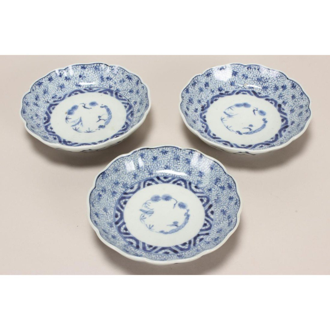 Three 19th Century Japanese Blue and White Bowls,
