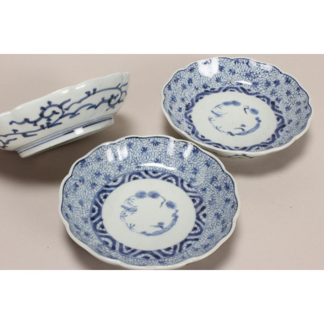 Three 19th Century Japanese Blue and White Bowls, - 3