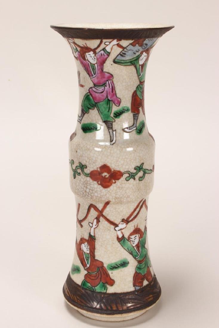 Pair of Chinese Famille Vert Crackle Glaze Gu - 3