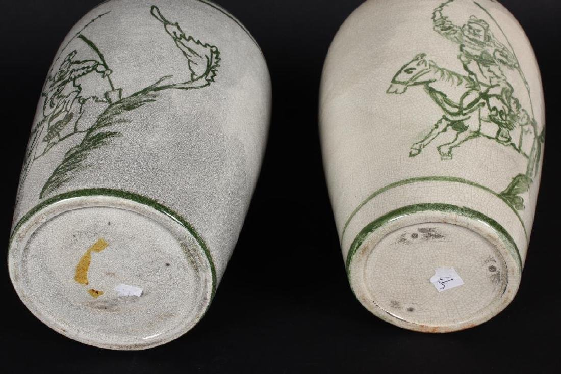 Pair of Chinese Crackle Glaze Vases, - 2