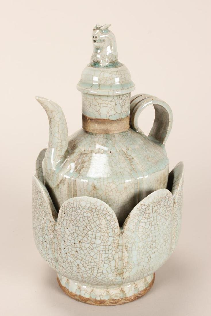 Chinese Celadon Crackle Glaze Ewer and Warming