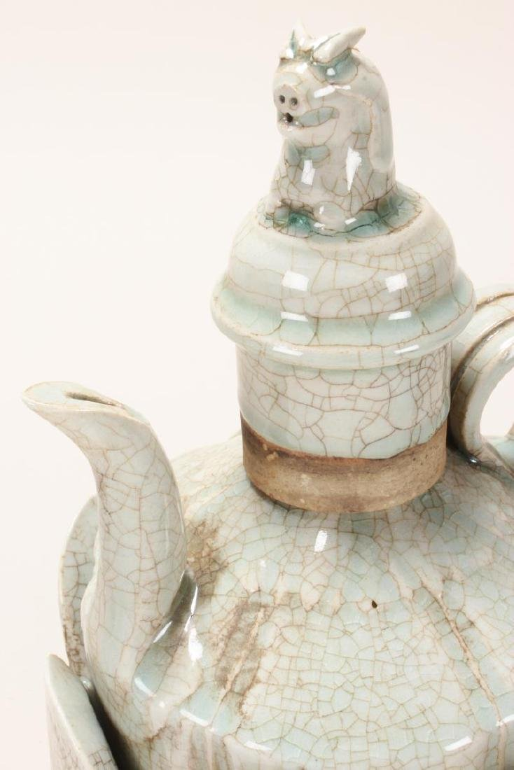 Chinese Celadon Crackle Glaze Ewer and Warming - 2