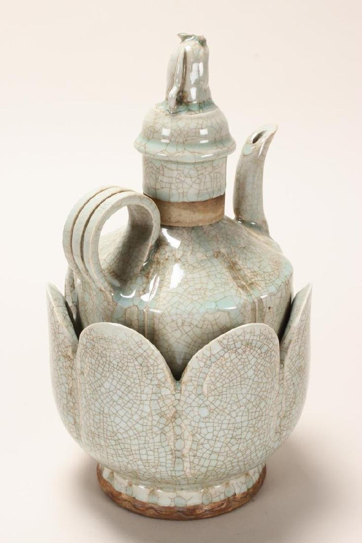Chinese Celadon Crackle Glaze Ewer and Warming - 3