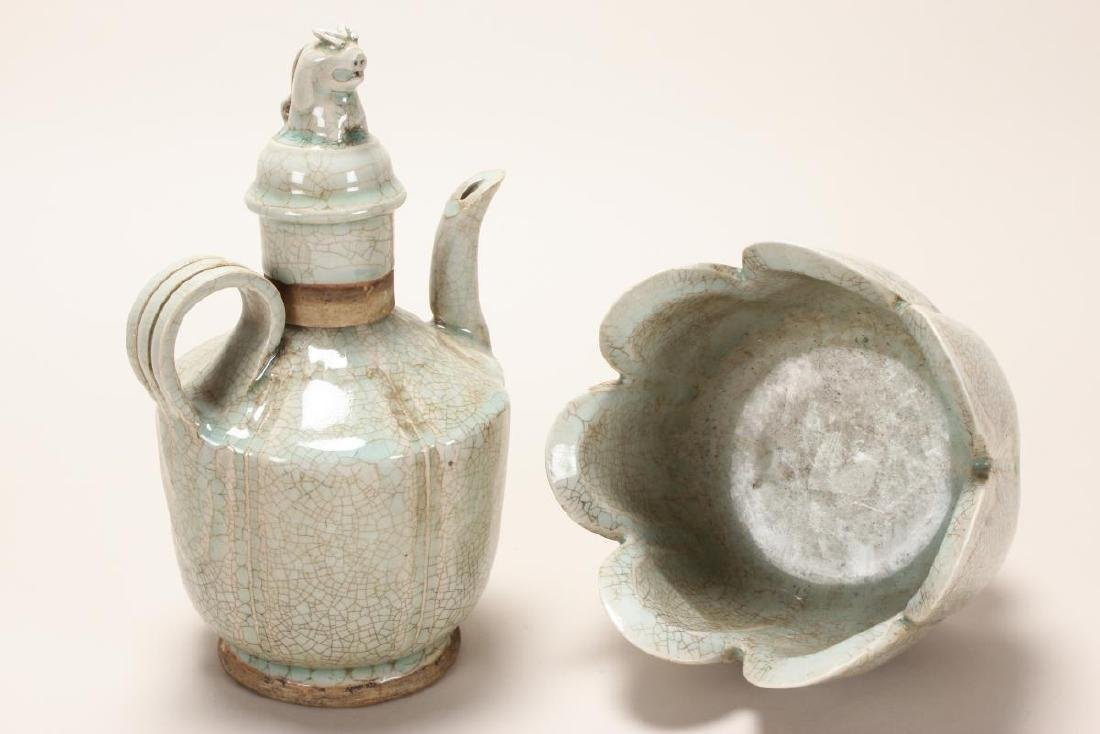 Chinese Celadon Crackle Glaze Ewer and Warming - 4