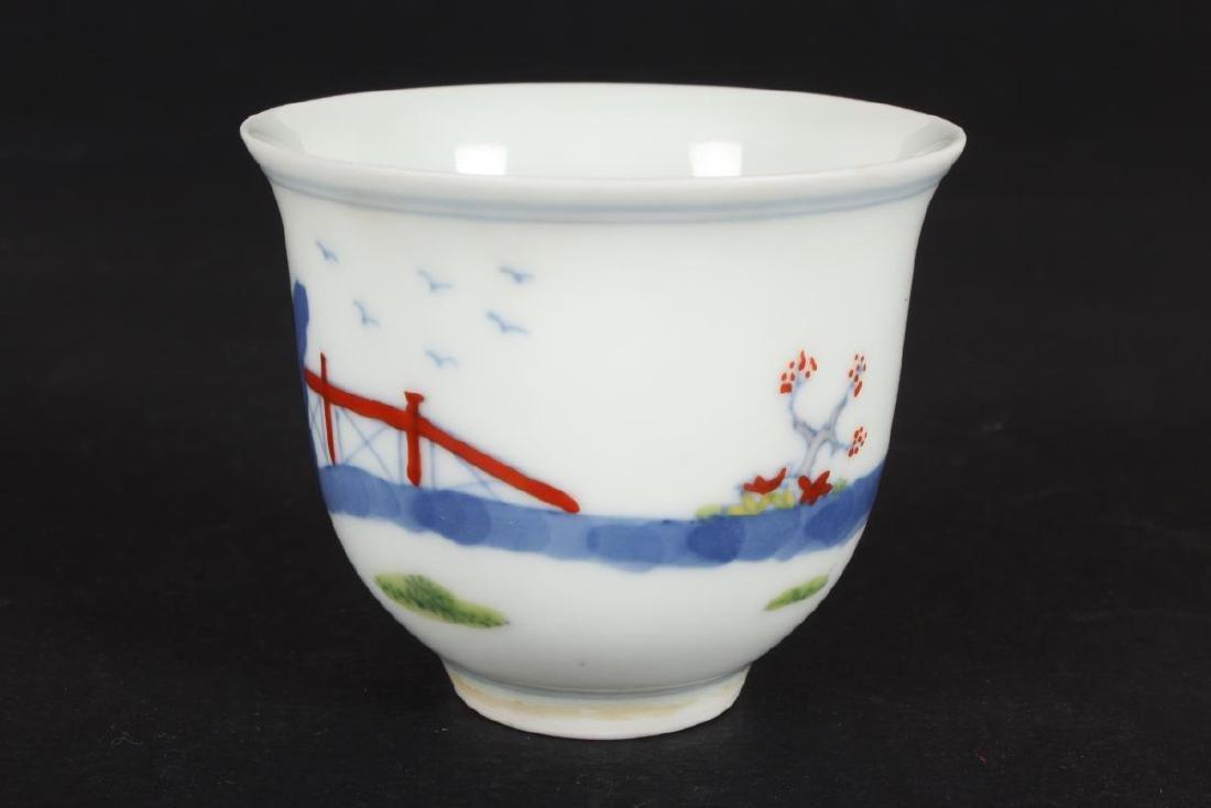 Chinese Doucai Porcelain Tea Cup, - 2