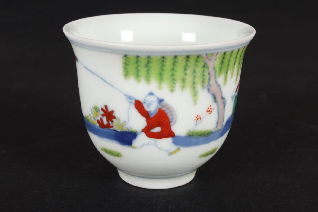 Chinese Doucai Porcelain Tea Cup, - 3