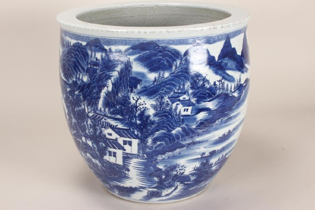 Chinese Blue and White Porcelain Jardiniere, - 3