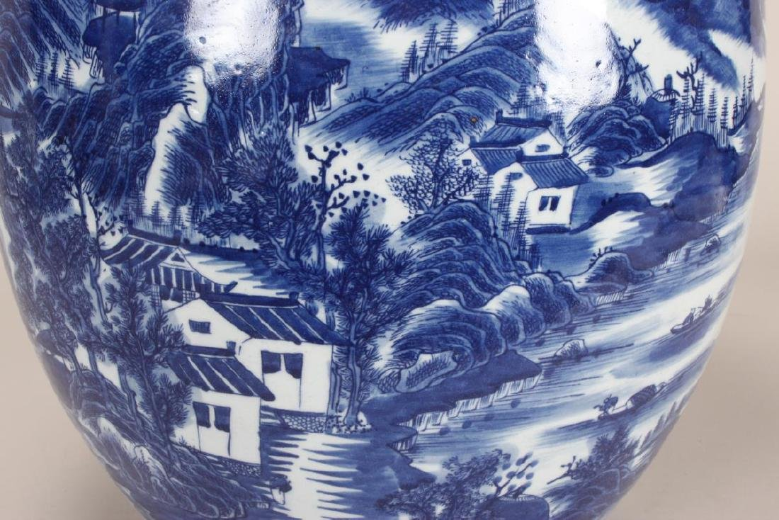 Chinese Blue and White Porcelain Jardiniere, - 4