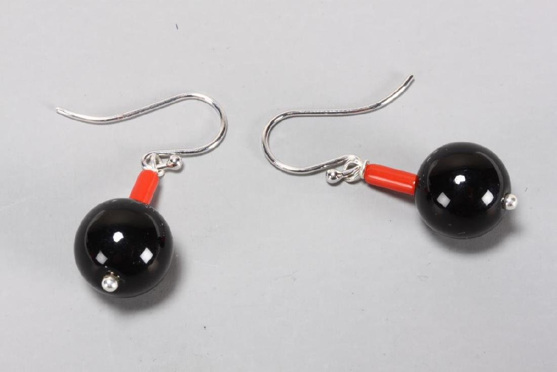 Ladies 9ct White Gold and Coral Earrings,