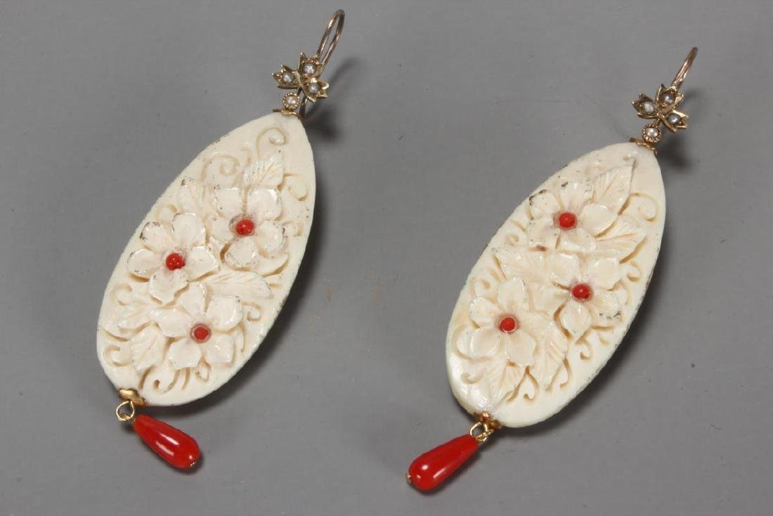 Ladies 9ct Gold and Coral Earrings,