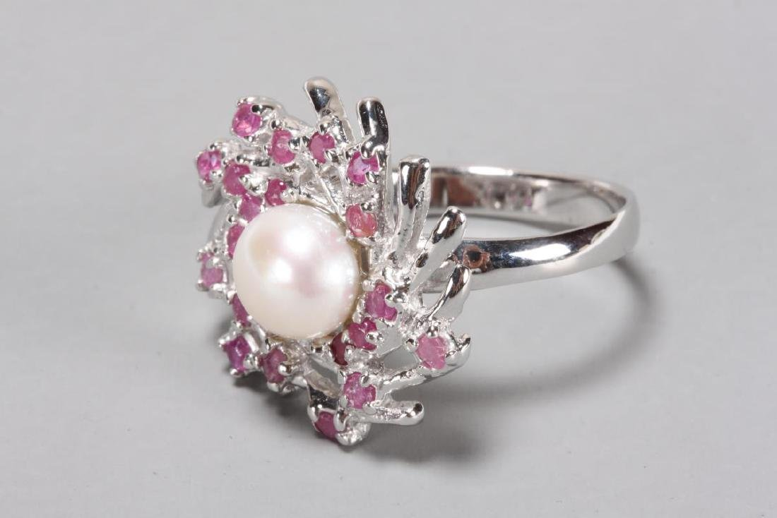 Ladies Pearl and Ruby Dress Ring,