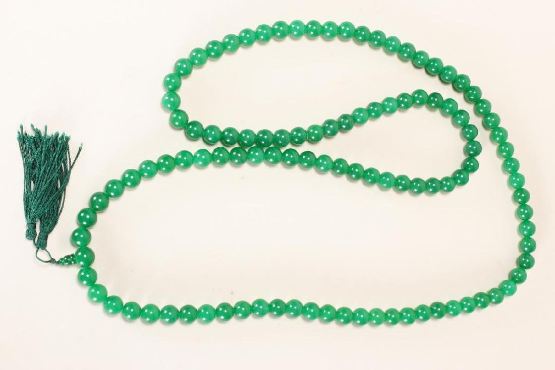 Chinese Green Hardstone Bead Necklace,