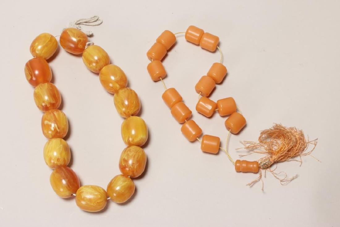 Set of Amber Coloured Beads,
