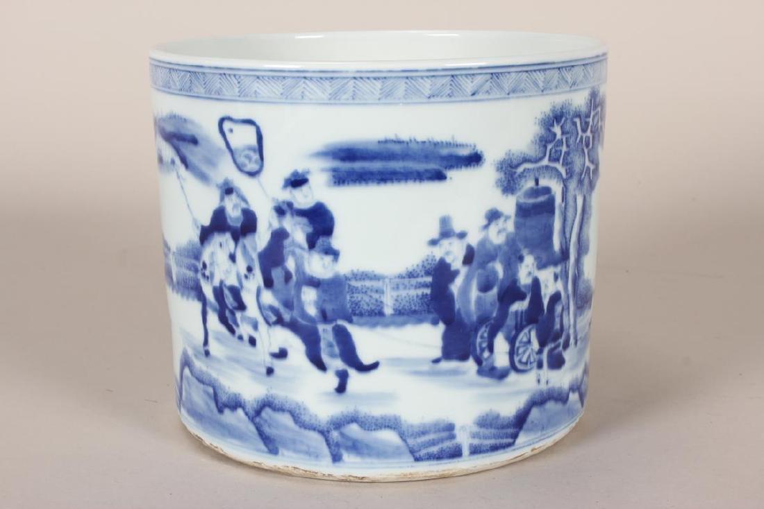 Chinese Blue and White Porcelain Brush Pot,