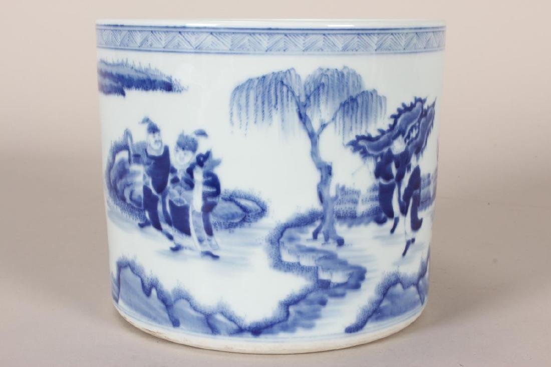 Chinese Blue and White Porcelain Brush Pot, - 3