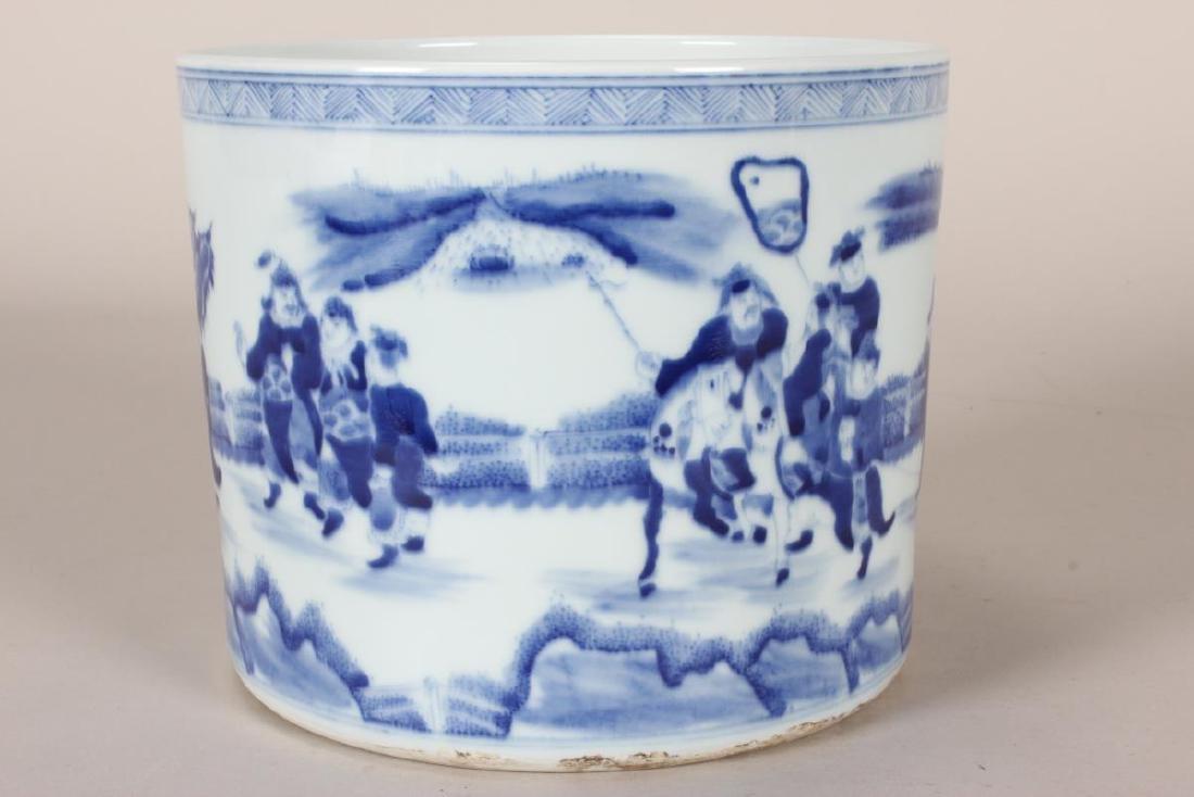 Chinese Blue and White Porcelain Brush Pot, - 4