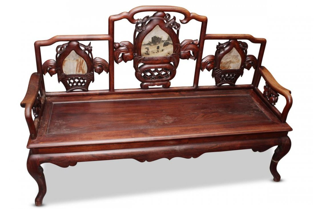 Chinese Carved Hardwood and Marble Bench Seat,