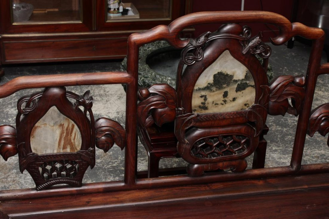 Chinese Carved Hardwood and Marble Bench Seat, - 2